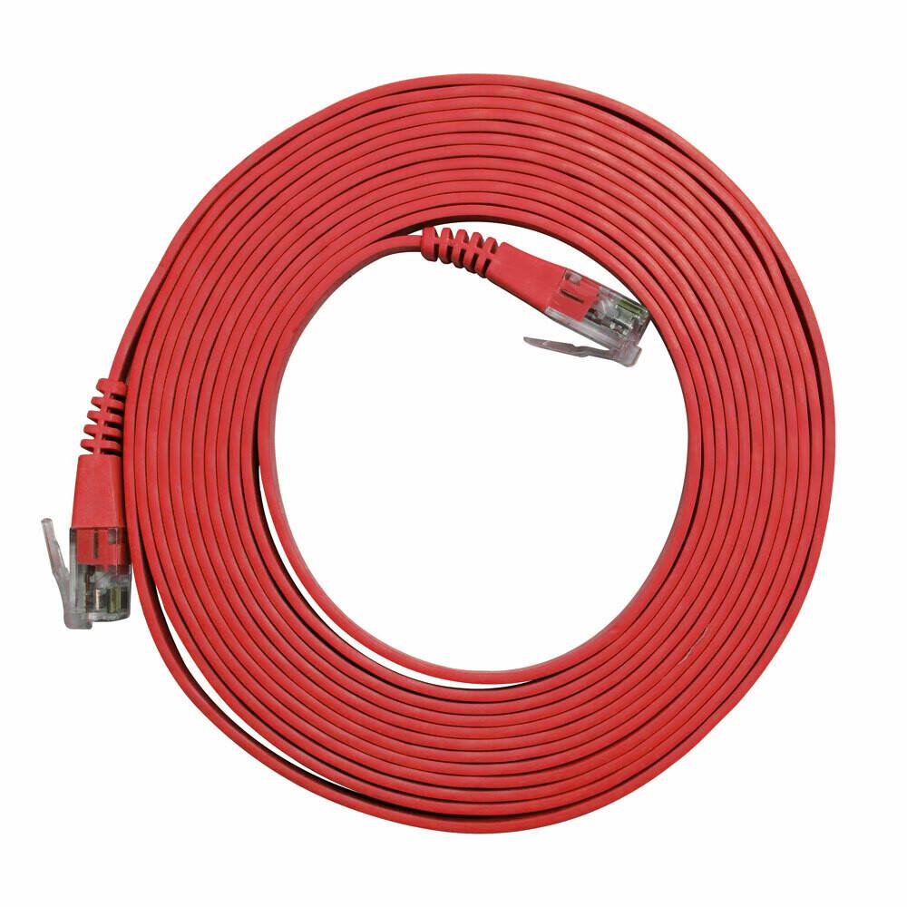 Patch Cord Flat Cable RJ45 Flexível Cat6 3m Vermelho