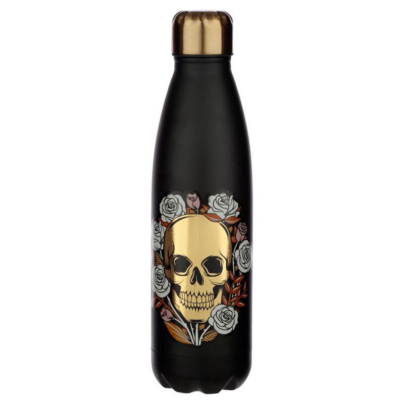 Botella Térmica de Acero Inoxidable Calavera con Rosas