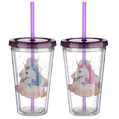 Vaso Unicornio con Tapa y Pajita