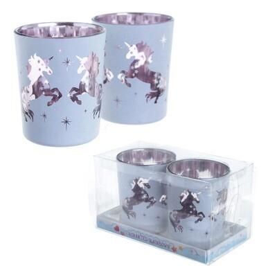 Set 2 Portavelas de Vidrio Unicornio