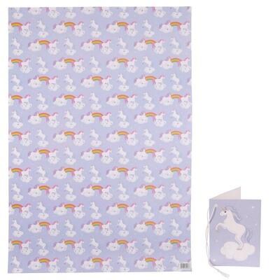 Papel de Regalo Unicornio y Arco Iris