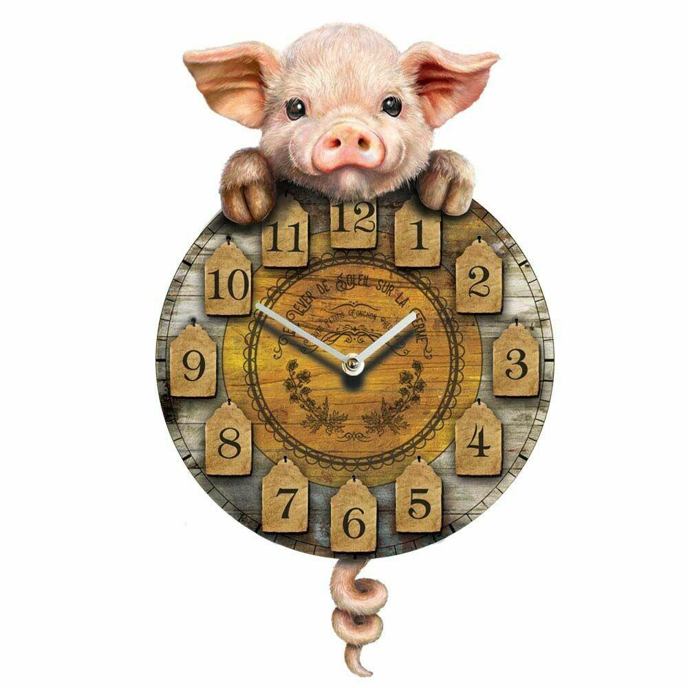 Reloj Cerdito Rústico