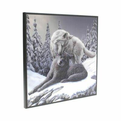 Cuadro Cristal Lobos Besos en la Nieve