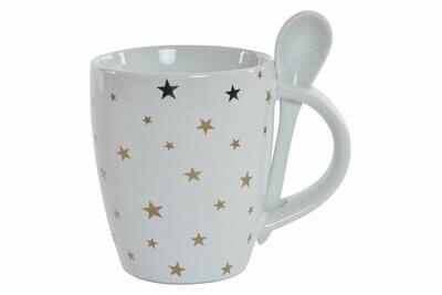 Taza Porcelana Estrellas con Cuchara