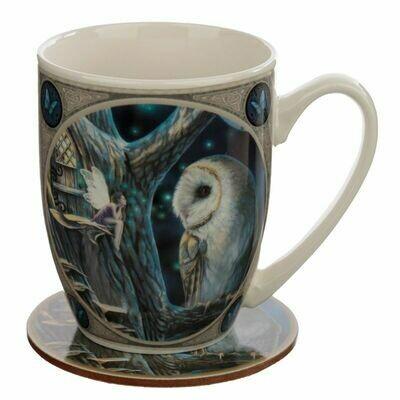Taza de Porcelana y Posavasos Cuento Hada y Búho