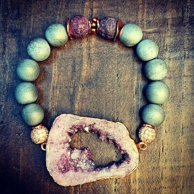Amethyst Druzy Pendant & Grey Druzy Bracelet