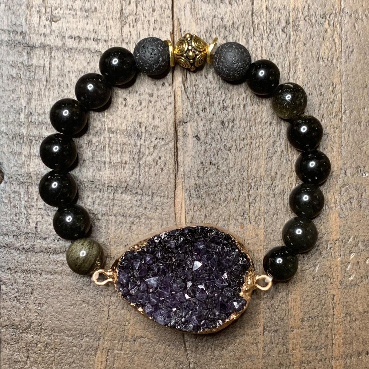 Gold & Black Obsidian Druzy Bracelet-8mm (6.5