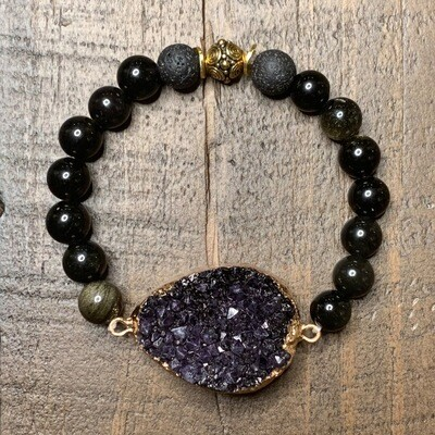 Gold & Black Obsidian Druzy Bracelet-8mm (6.5