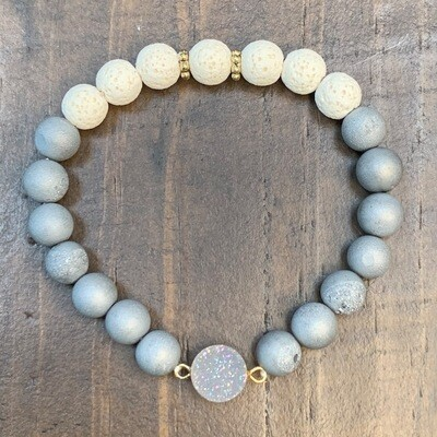 Grey Druzy & Lava Beads Bracelet-8mm
