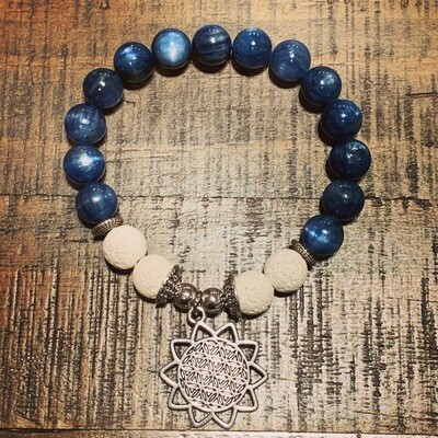 Kyanite Flower of Life Bracelet (10mm)