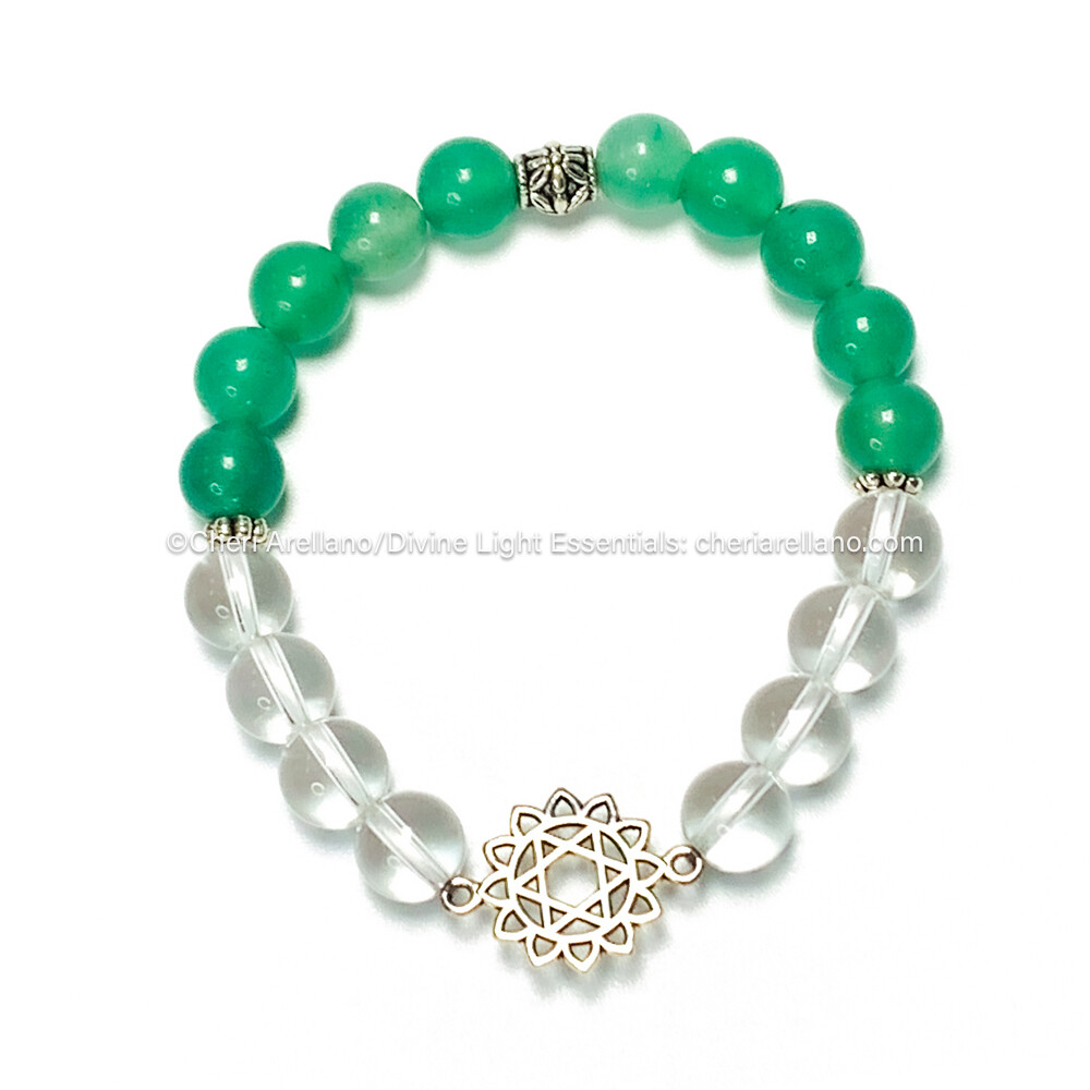 Heart Chakra Balancing Bracelet: Green Aventurine and Quartz Crystal