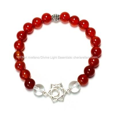 Sacral Chakra Balancing Bracelet: Carnelian and Quartz Crystal