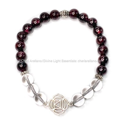 Root Chakra Balancing Bracelet: Garnet and Quartz Crystal