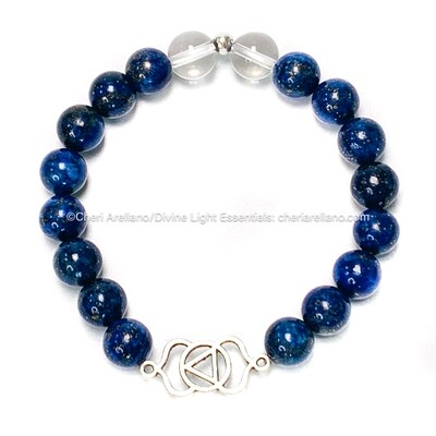 Third Eye Chakra Balancing Bracelet: Lapis Lazuli and Quartz Crystal