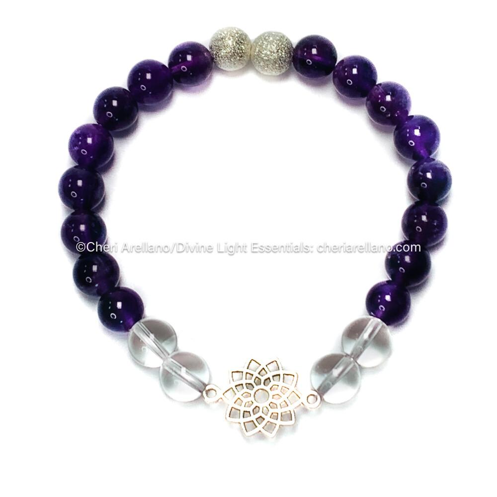 Crown Chakra Balancing Bracelet: Amethyst and Clear Quartz Crystal