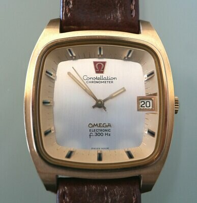 Omega Electronic f300 Hz Stimmgabel Constellation Chronometer, vergoldet, 70er Jahre