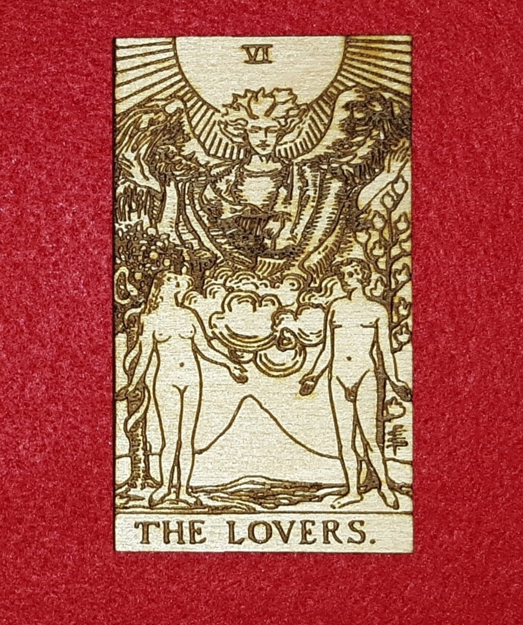 """Engraved Wooden Tarot Card - 2"""" x 3"""" - The Lovers"""