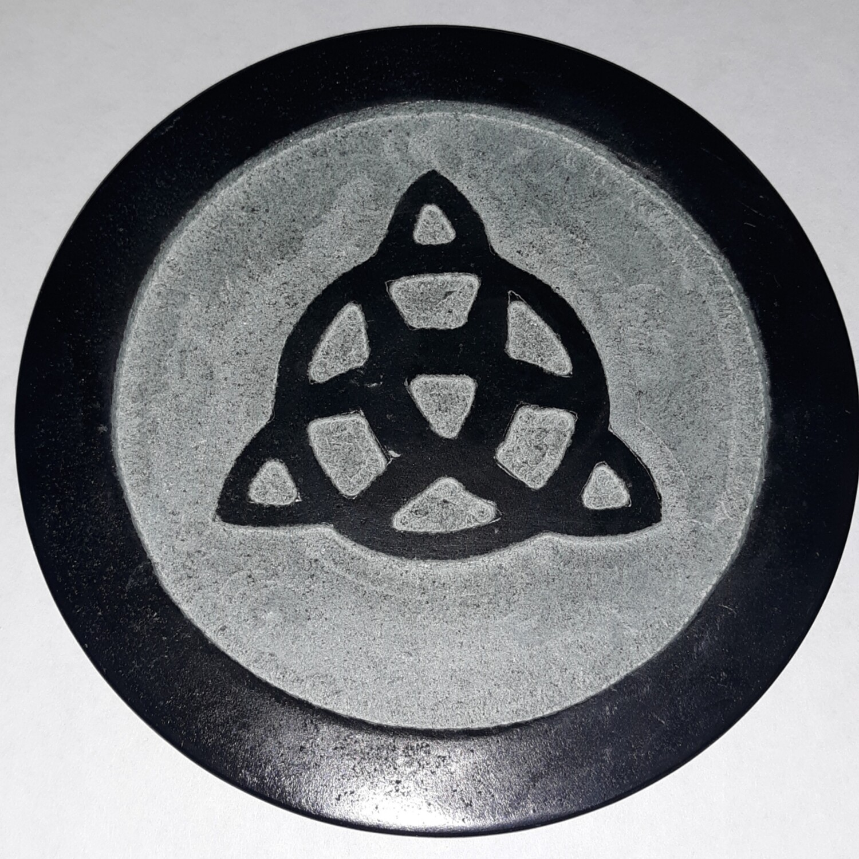 "Triquetra Carved 6"" Soapstone Altar Tile"