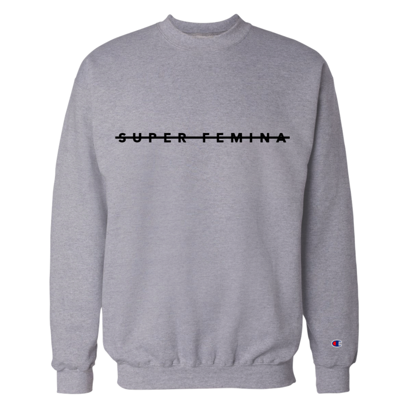 Super Femina Gray w/ Black Strike Champion® Crewneck