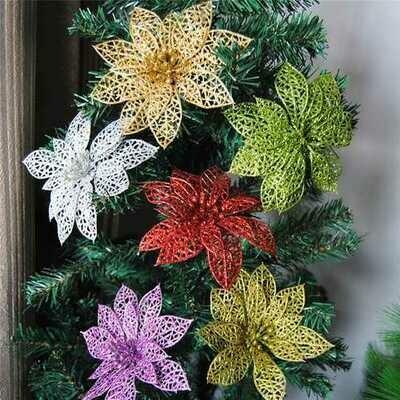 10Pcs Christmas Glitter Hollow Flower Decoration Flowers for Christmas Trees New Year Decorations Wedding Party Decor