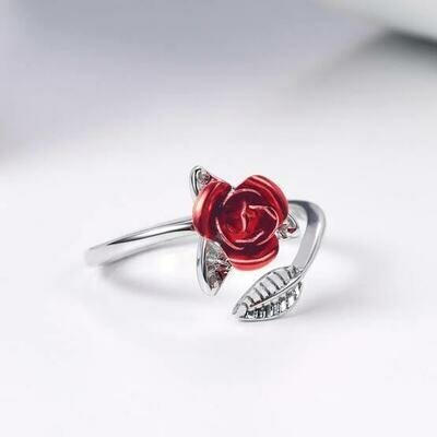 Red Rose Resizable Finger Ring
