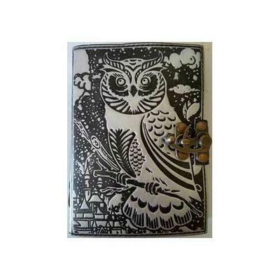 black/ silver Owl leather blank book w/ latch