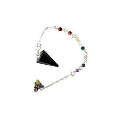 Tourmaline, Black 7 Chakra 6 sided pendulum