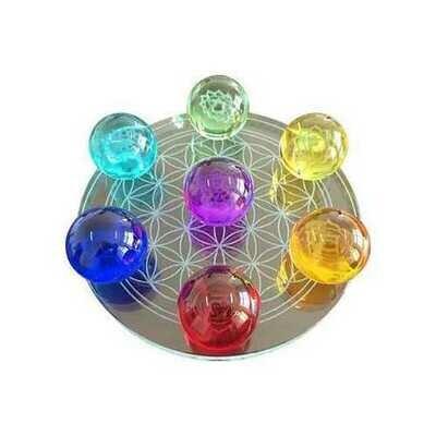 55mm 7 Chakra Flower of Life set gazing balls