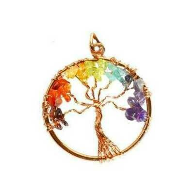 7 Chakra Tree of Life pendant copper color