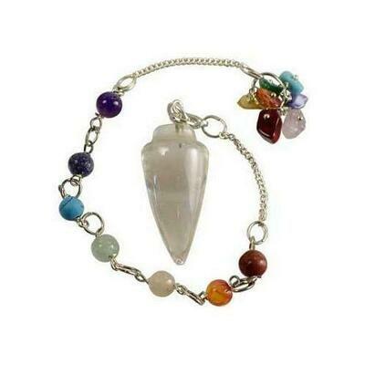 Clear Quartz 7 Chakra pendulum