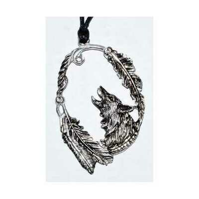 Wolf with Feathers amulet 3 1/4