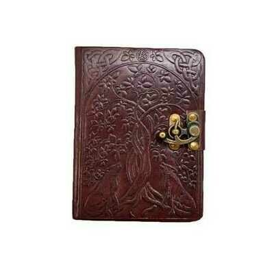Tree of Life & Wolves leather blank book w/ latch