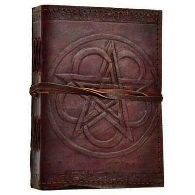 Pentagram leather blank book w/ cord