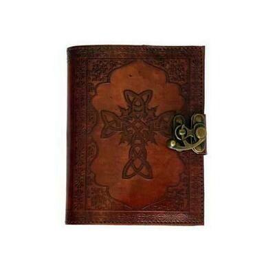 Celtic Cross leather blank book w/ latch