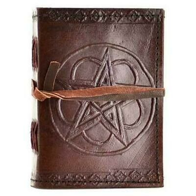 Pentagram leather blank journal w/ cord