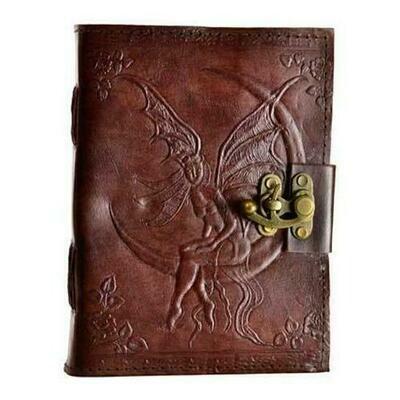 Fairy Moon leather blank book w/ latch
