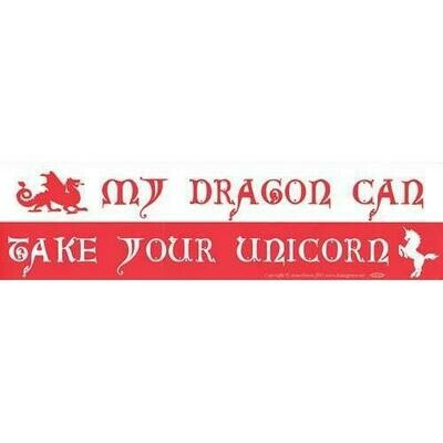 My Dragon Can Take Your Unicorn bumper sticker
