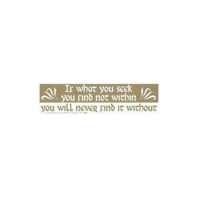 If What You Seek You Find Not Within You Will Never Find It bumper sticker