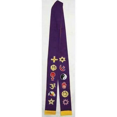 Interfaith Minister's Stole purple/ gold