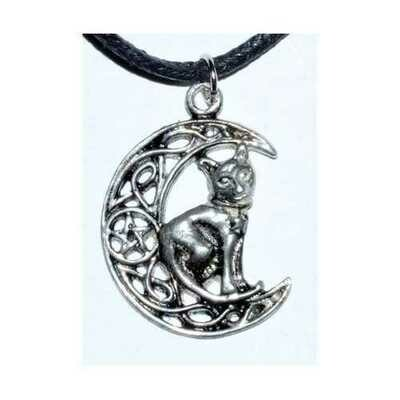 Celtic Moon & Cat amulet