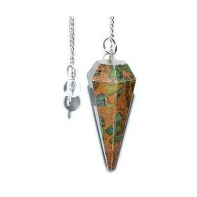 6-sided Ocean Jasper pendulum