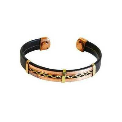 Copper & Leather Magnetic bracelet