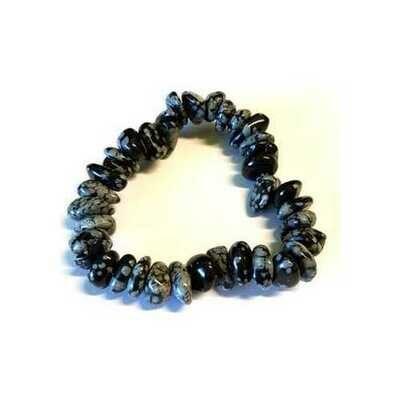 Snowflate Obsidian gemstone bracelet stretch