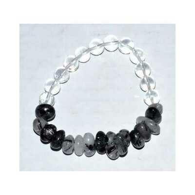 Nuggets, Quartz with Tourmaline & Quartz gemstone bracelet