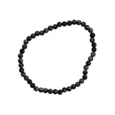 4mm Snow Flake Obsidian stretch bracelet