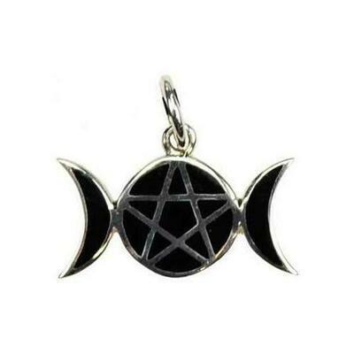 Pentagram Moons sterling silver