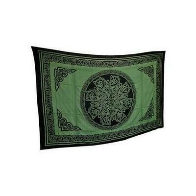 Ancient Celtic Knot Tapestry Green & Black 72