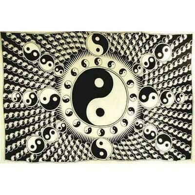 White and Black Yin Yang Tapestry 72