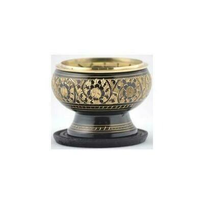 Black Engraved brass incense burner
