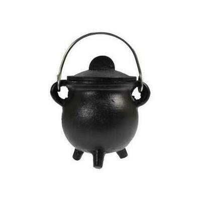 Plain cast iron cauldron  w/ lid 3